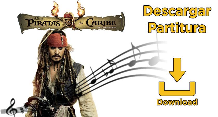 Partitura canción Piratas de Caribe
