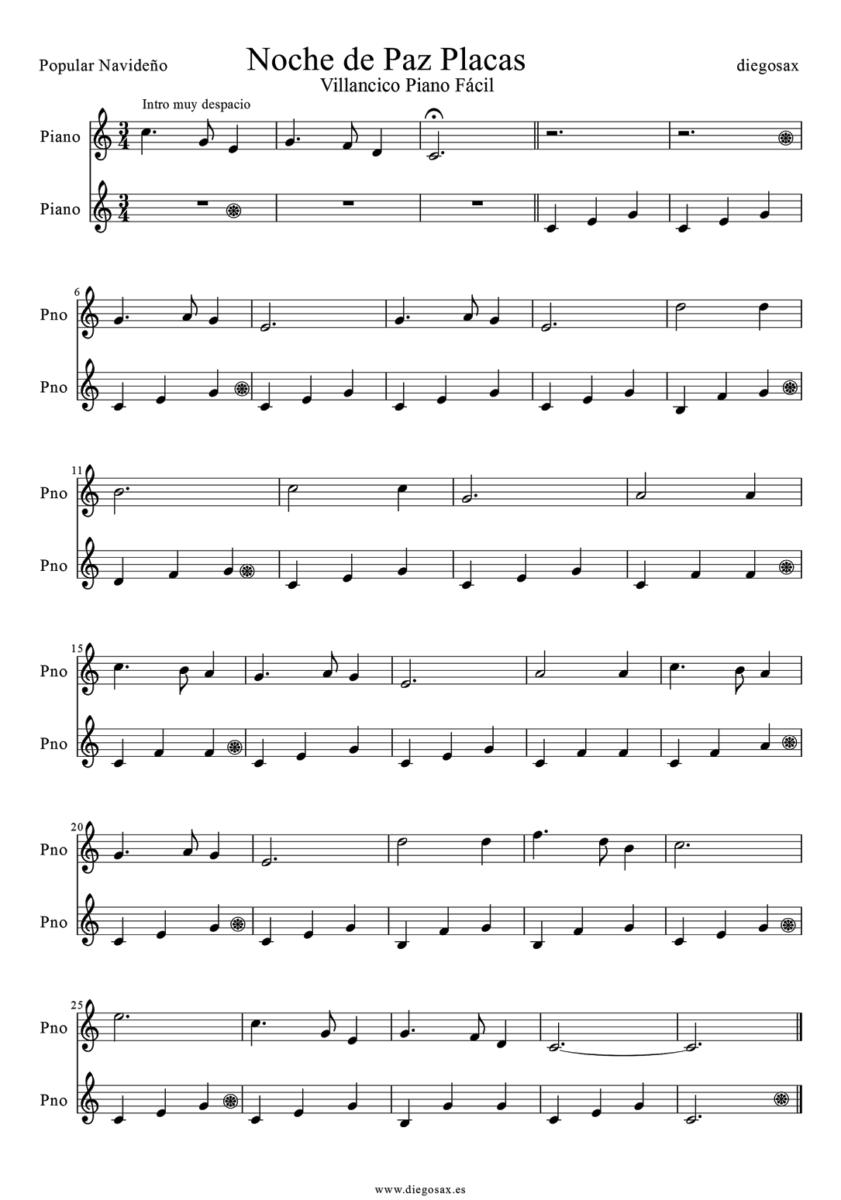 Partitura Noche De Paz Para Piano Guitarra Flauta Violín 2021